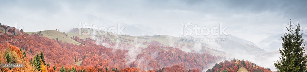 Beautiful landscape with hills and mountais stock photo