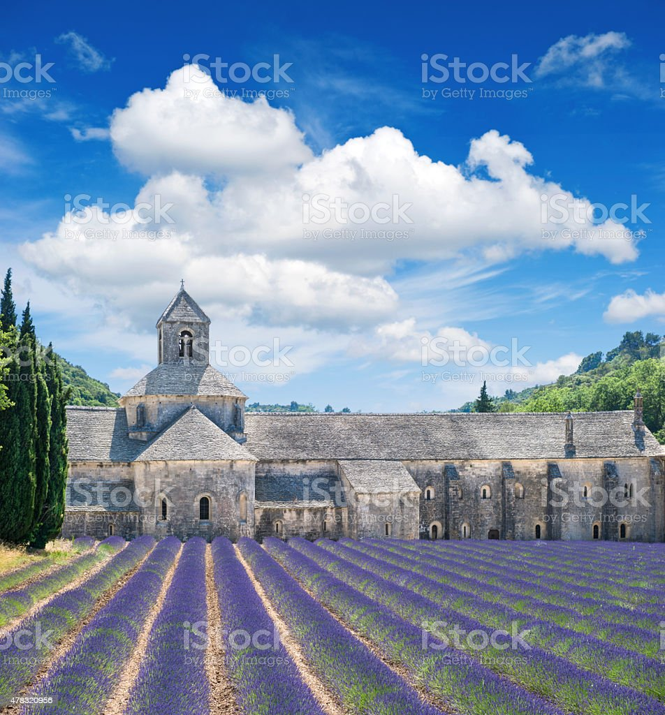 Beautiful landscape with medieval castle and cloudy blue sky stock photo