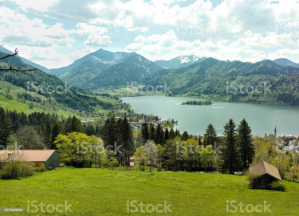 Beautiful landscape with mountain lake in Alps royalty-free stock photo