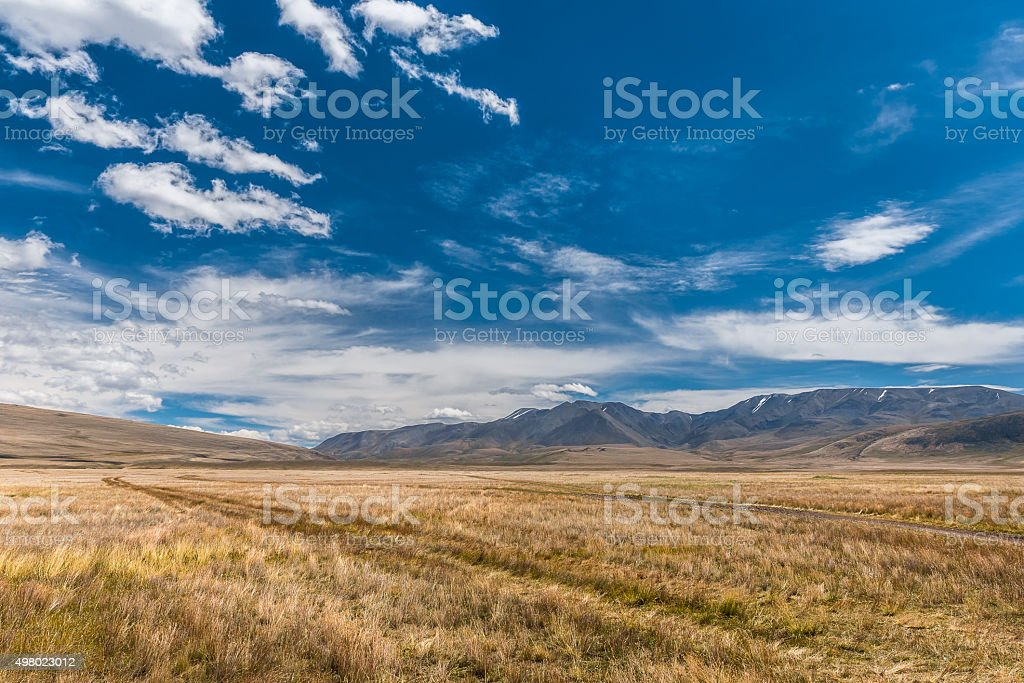 Beautiful landscape with mountains and blue sky stock photo