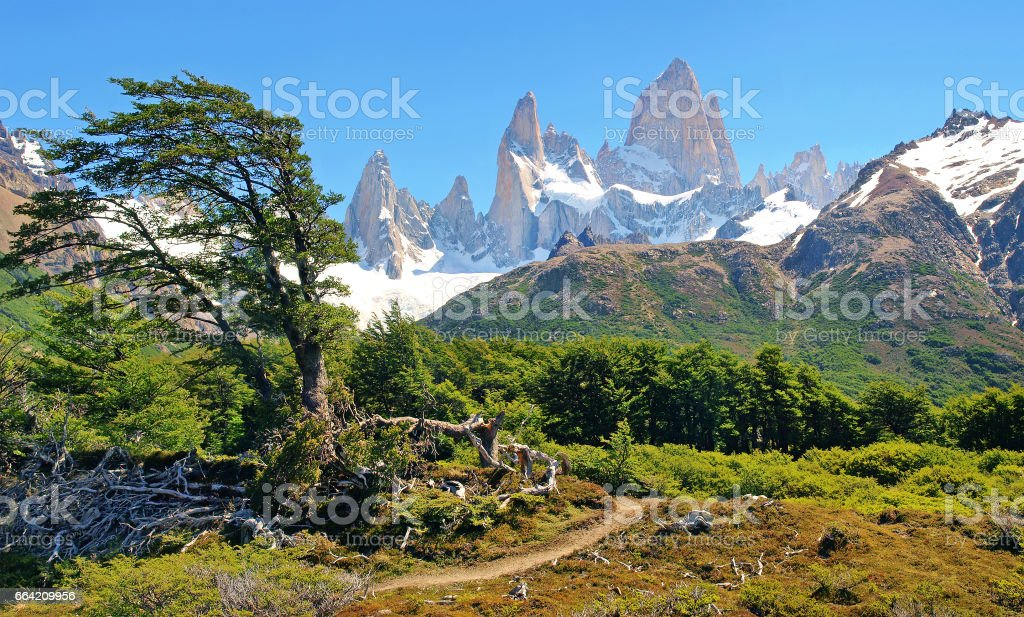 Beautiful landscape with Mt Fitz Roy in Los Glaciares National Park, Patagonia, Argentina, South America stock photo