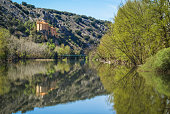 Beautiful landscape with river Duero, St. Saturio chirch and ref