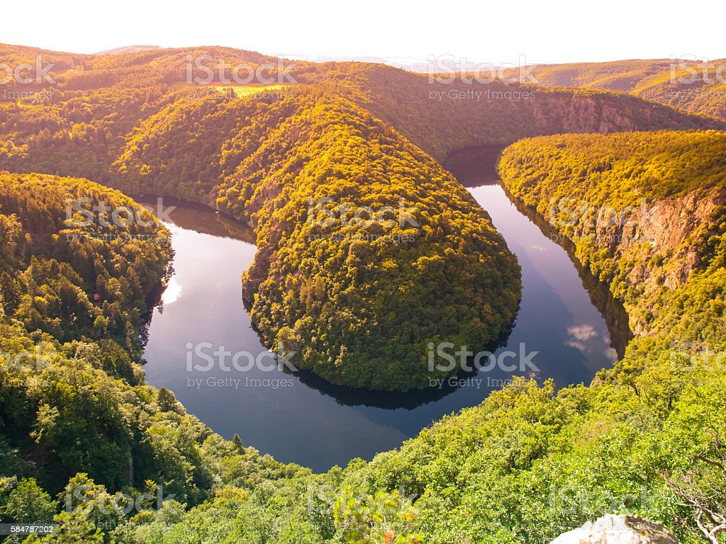 Beautiful landscape with river meander stock photo