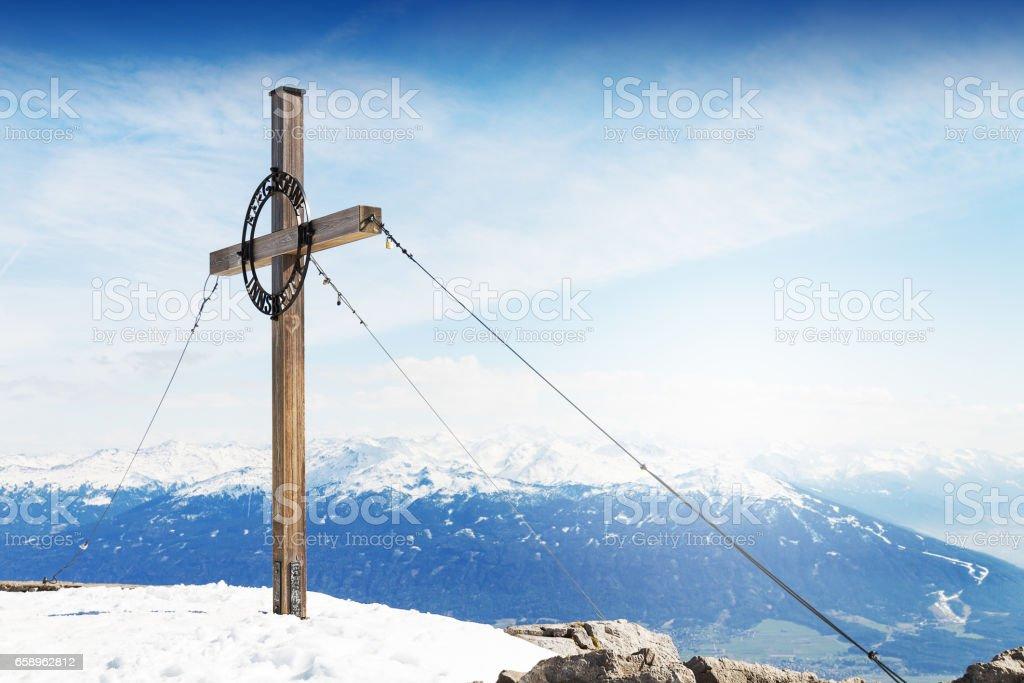 Beautiful Landscape with Snowy Mountains. Blue Sky. Horizontal. Alps, Austria. stock photo