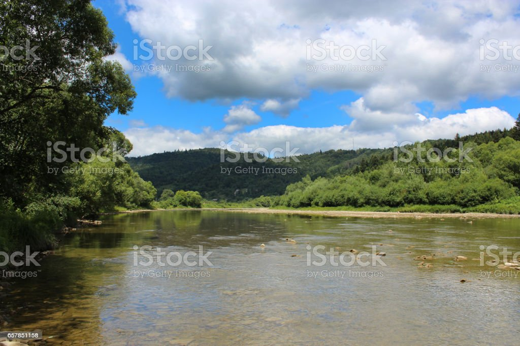 beautiful landscape with speed river in Carpathian mountains stock photo