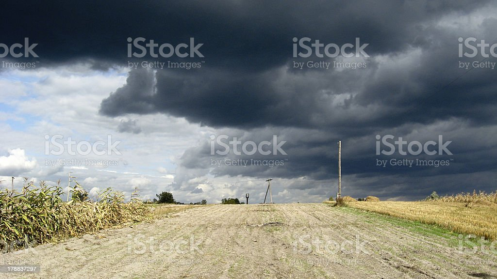 Beautiful landscape with the dark clouds of thunder-storm royalty-free stock photo