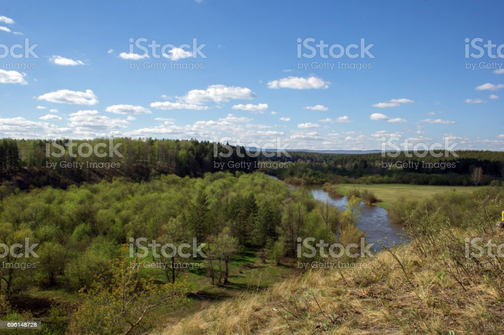 beautiful landscape with the forest and the Ural mountains stock photo