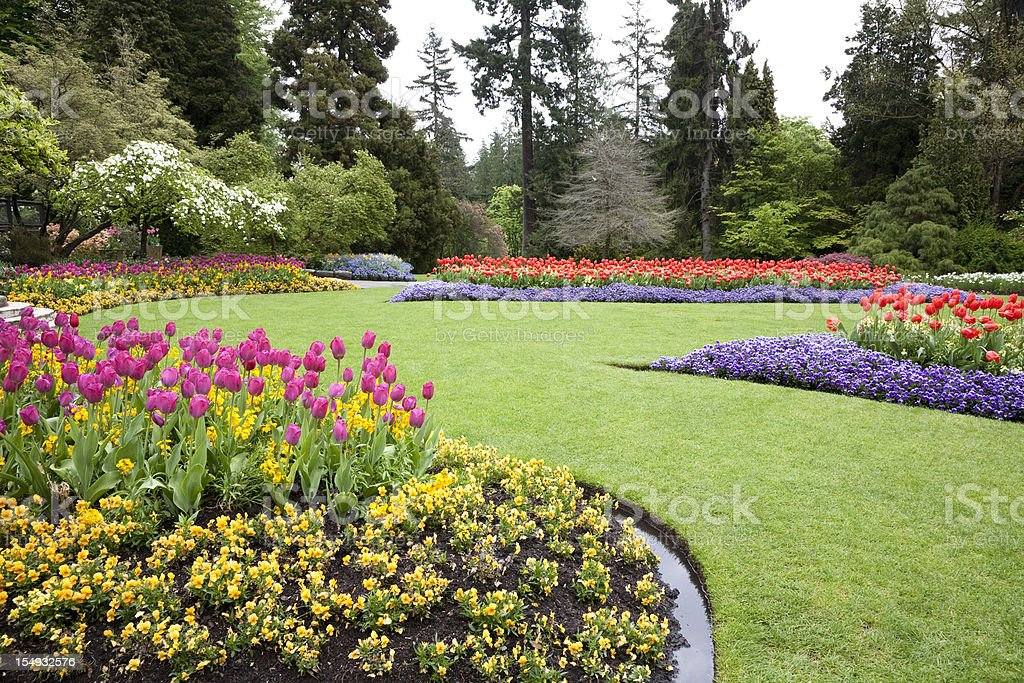 A beautiful landscaped garden of flowers stock photo