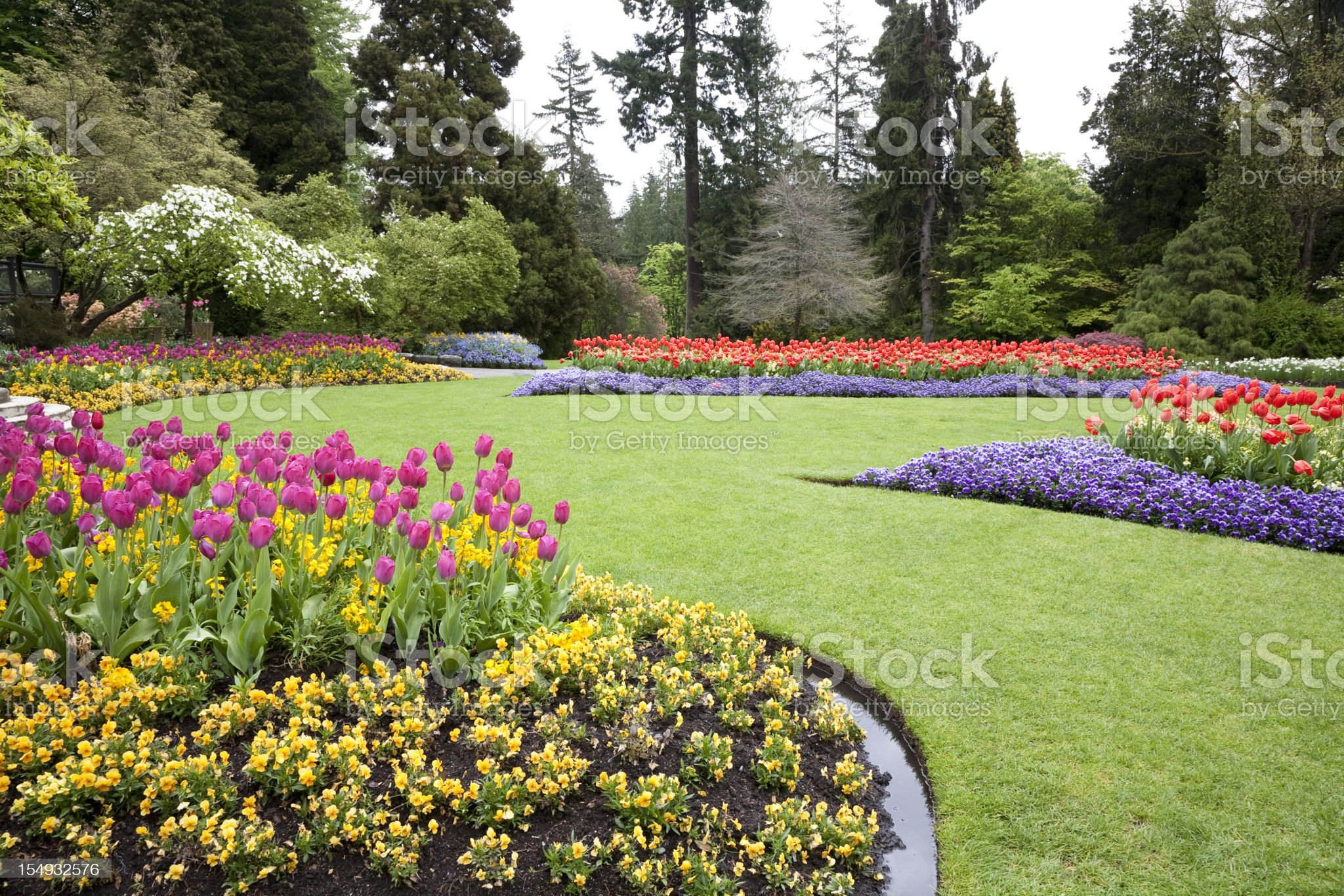 A beautiful landscaped garden of flowers royalty-free stock photo