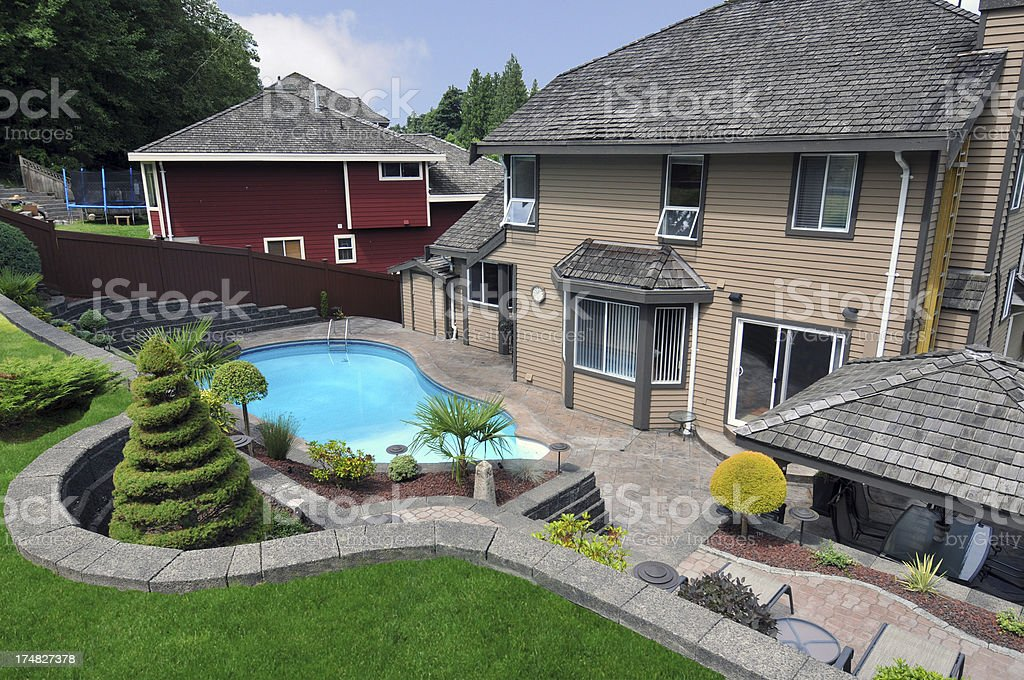 Beautiful Landscaped Yard with Pool royalty-free stock photo