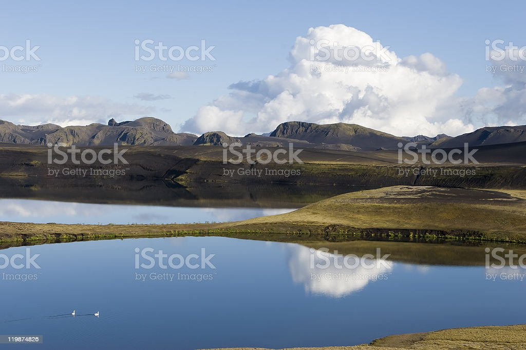 Beautiful landscapes. Montain, Reflection, Lake in Iceland stock photo