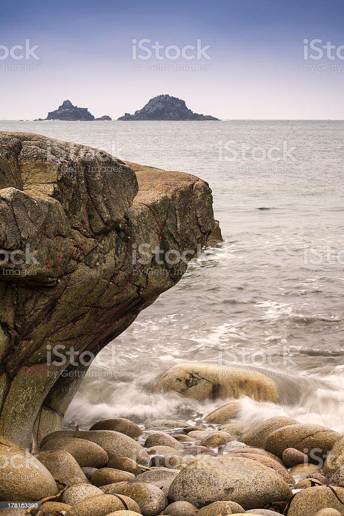 Beautiful landscpae of Porth Nanven beach royalty-free stock photo