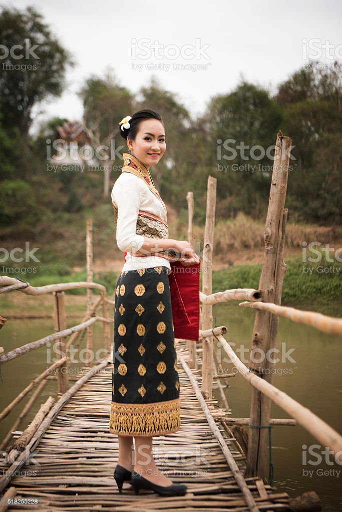Beautiful Laos lady in traditional costume stock photo