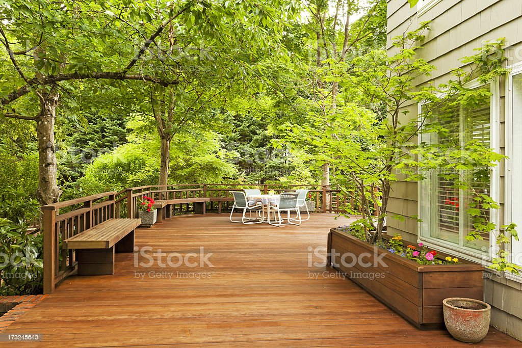 Beautiful Large Back Deck stock photo