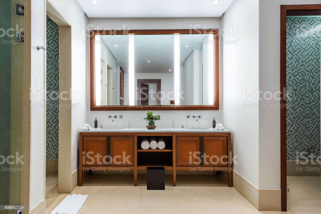 Beautiful Large Bathroom in Luxury Hotel stock photo