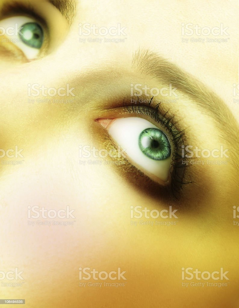 beautiful large green eyes with golden make-up royalty-free stock photo