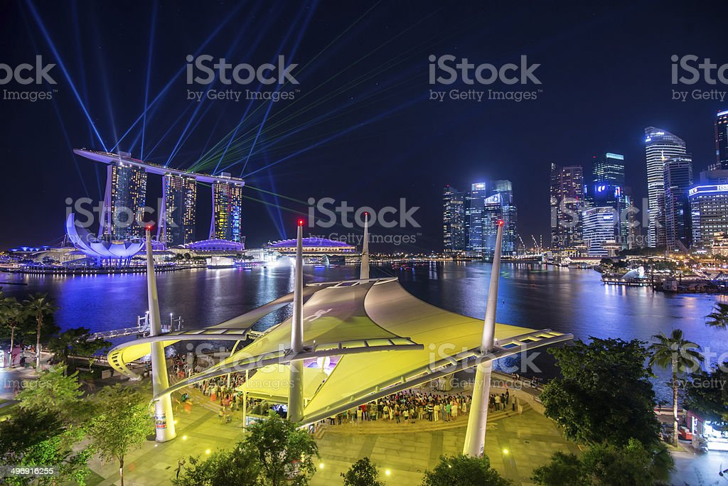 Beautiful laser show at the Marina Bay royalty-free stock photo