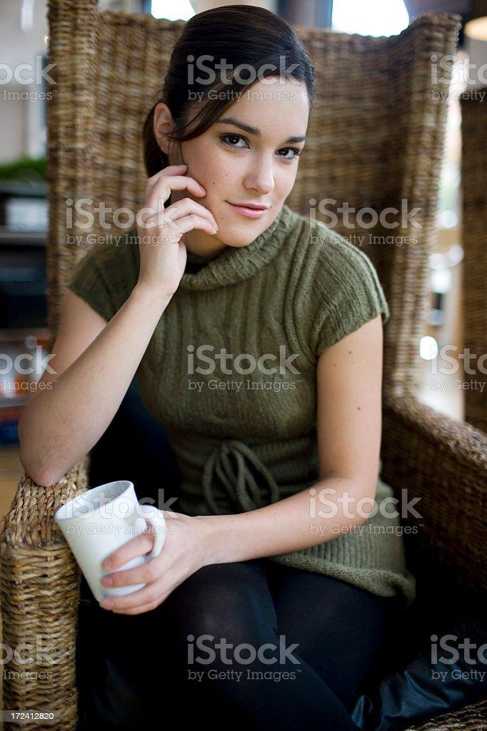 Beautiful Latina Mixed Young Woman Fashion Model, Daylight Cafe, Copyspace royalty-free stock photo