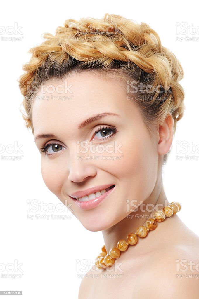 beautiful laughing woman with creative hairstyle royalty-free stock photo
