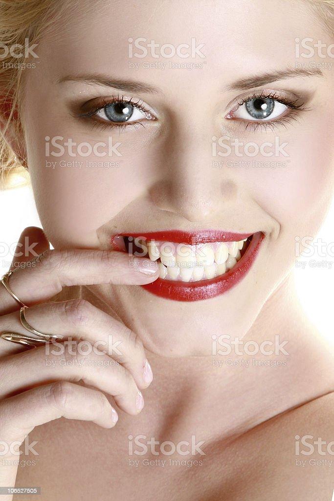 Beautiful laughing young woman stock photo