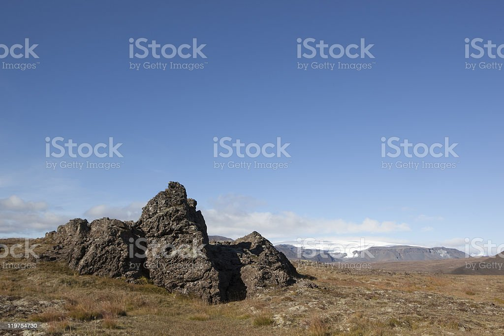 Beautiful lava formation clacier and  Langj?kull @ Iceland stock photo