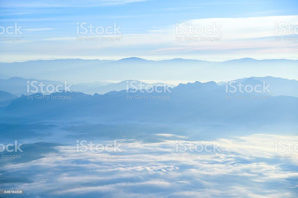 Beautiful layers of mountain landscape stock photo