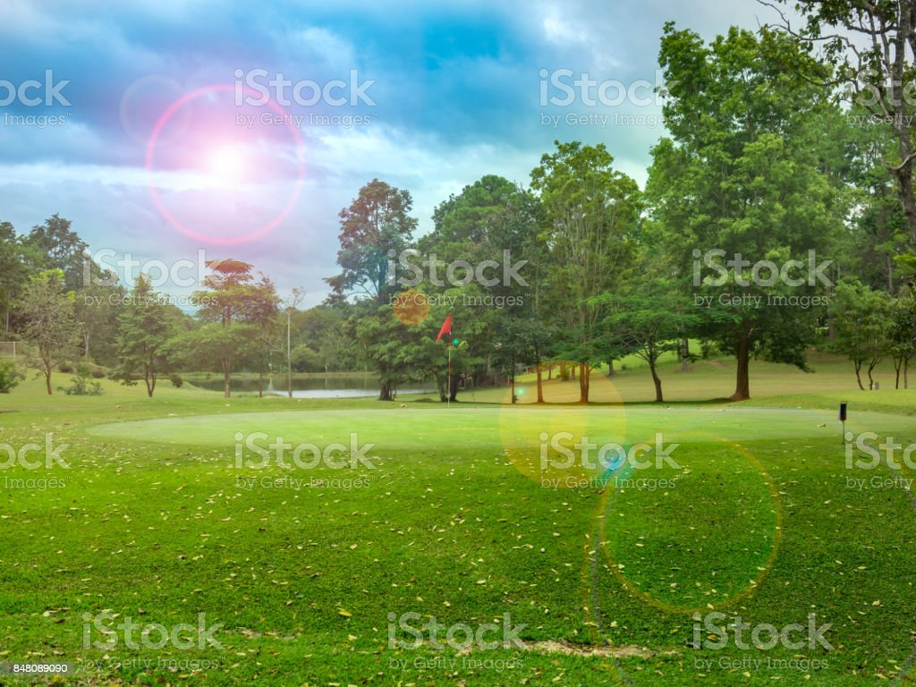 Beautiful layout and fairway in golf course stock photo