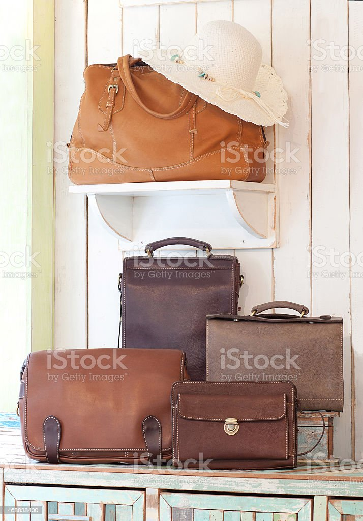 beautiful leather bags and handbags stock photo