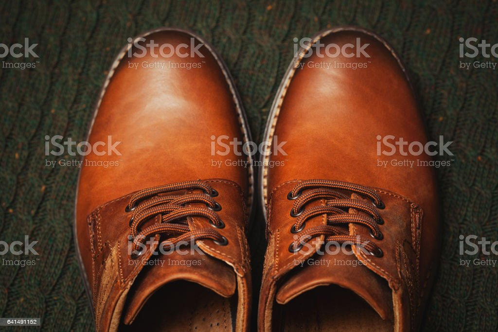 Beautiful leather men's shoes. Fashion Spring-Autumn. Fashionable casual wear stock photo