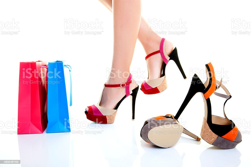 beautiful legs and shopping bag royalty-free stock photo