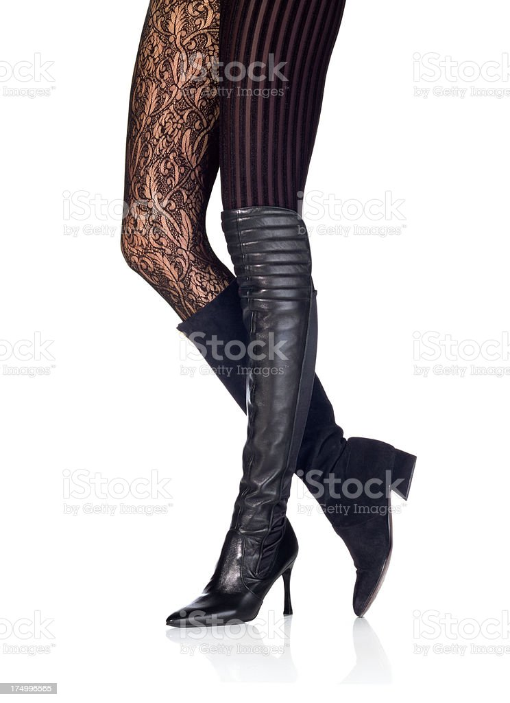 Beautiful legs in black tights royalty-free stock photo
