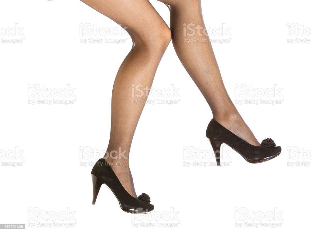 Beautiful legs in nice pantyhose stock photo