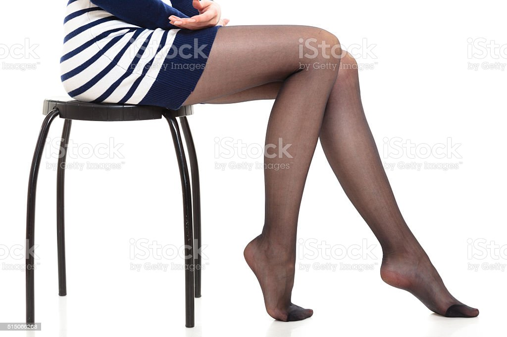 Beautiful legs of slim girl stock photo