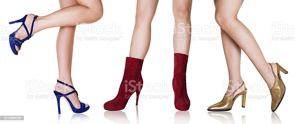 Beautiful legs with colorful shoes stock photo