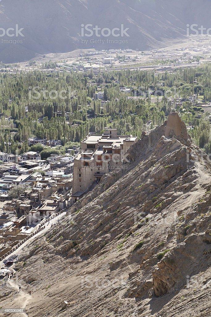 Beautiful Leh Palace a view from Tsemo monastery stock photo