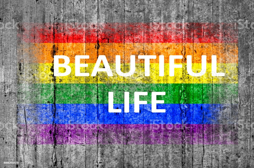 Beautiful life and LGBT flag painted stock photo