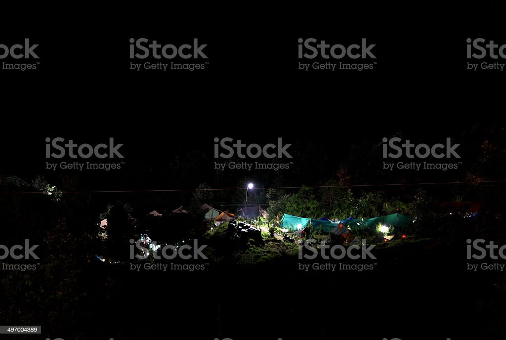 Beautiful lighted Camping site at Pangot Village during night stock photo
