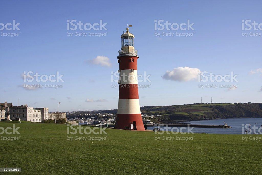 Beautiful lighthouse in Plymouth, Devon, UK stock photo