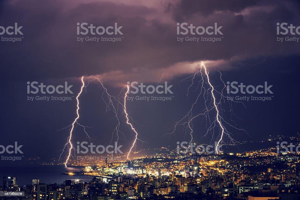 Beautiful lightning at night stock photo