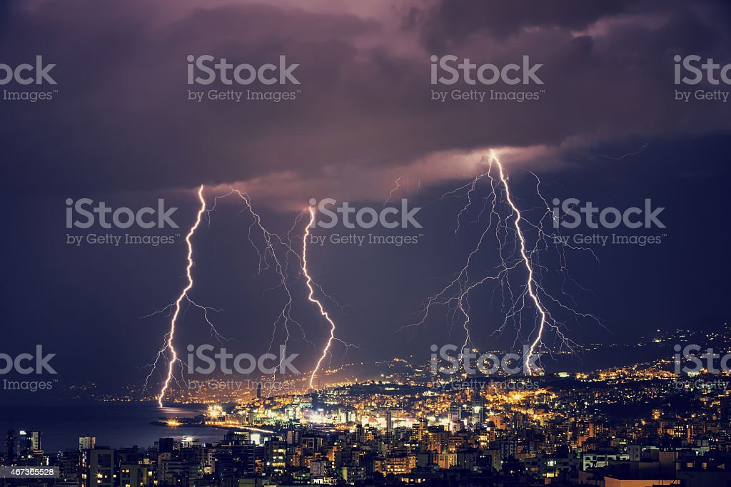Beautiful lightning at night stock photo