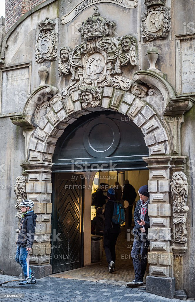 Beautiful limestone entrance to The Round Tower, Copenhagen, Denmark stock photo