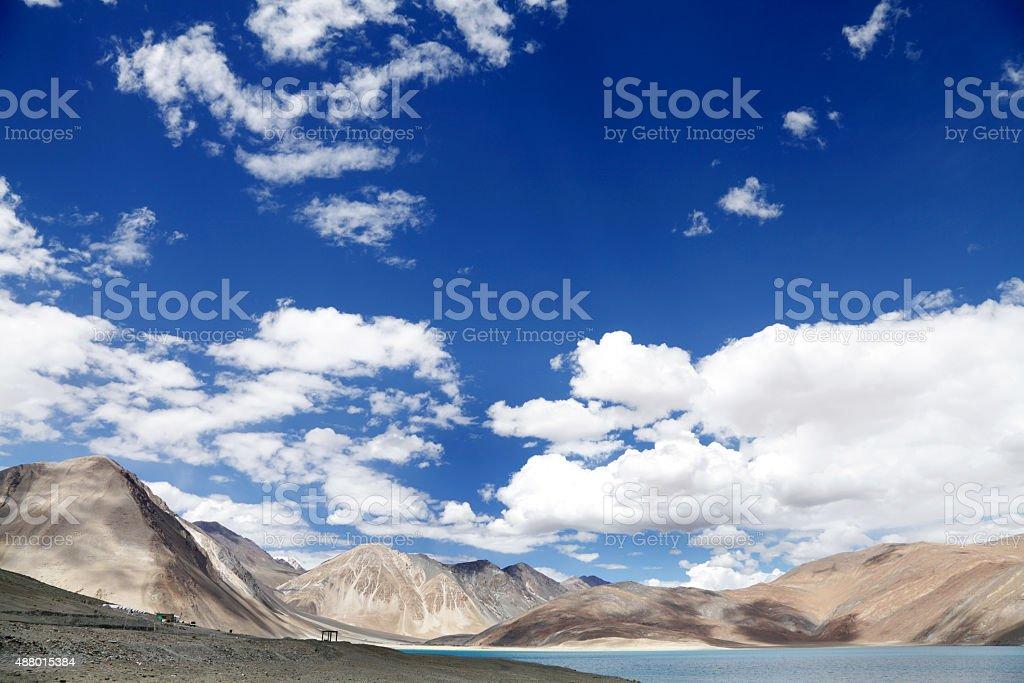 Beautiful limestone mountain along Pangong lake stock photo