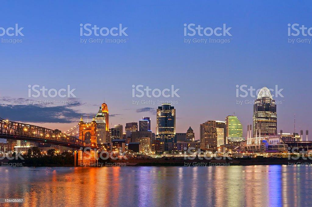 Beautiful lit up Cincinnati skyline on a clear night stock photo