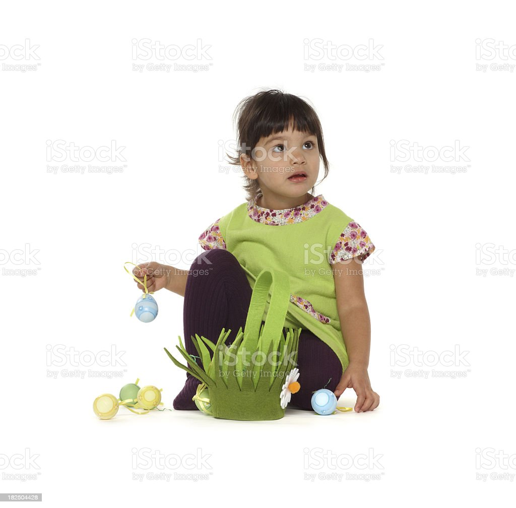 beautiful little baby girl with easter basket and eggs stock photo