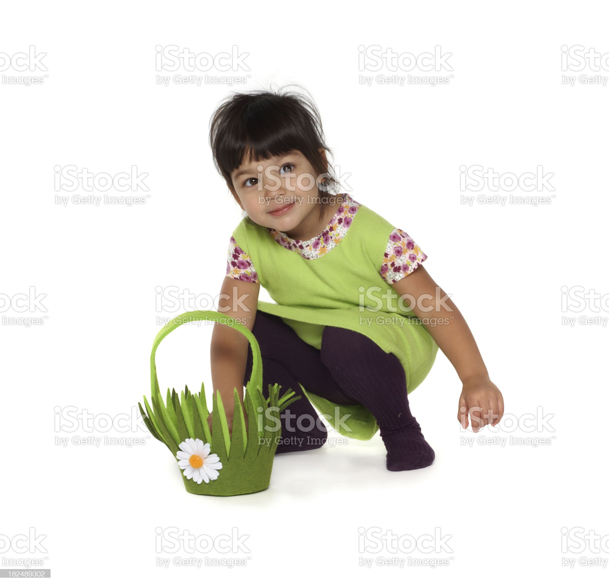 beautiful little baby girl with easter basket royalty-free stock photo