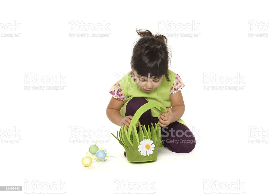 beautiful little baby girl with easter basket stock photo