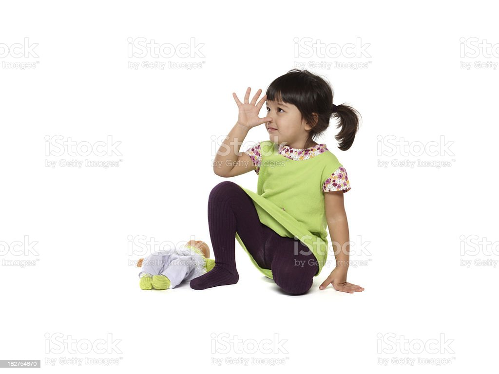beautiful little baby girl with puppet, doll stock photo