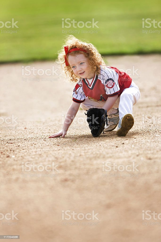 Beautiful Little Baseball Player royalty-free stock photo