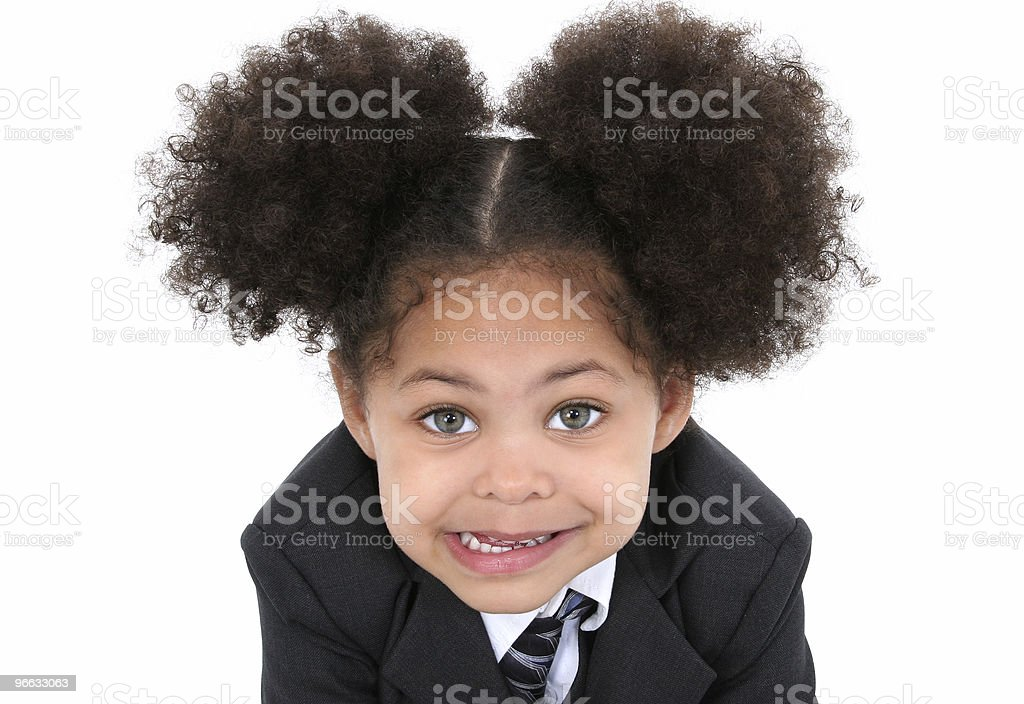Beautiful Little Business Woman In Suit And Tie royalty-free stock photo