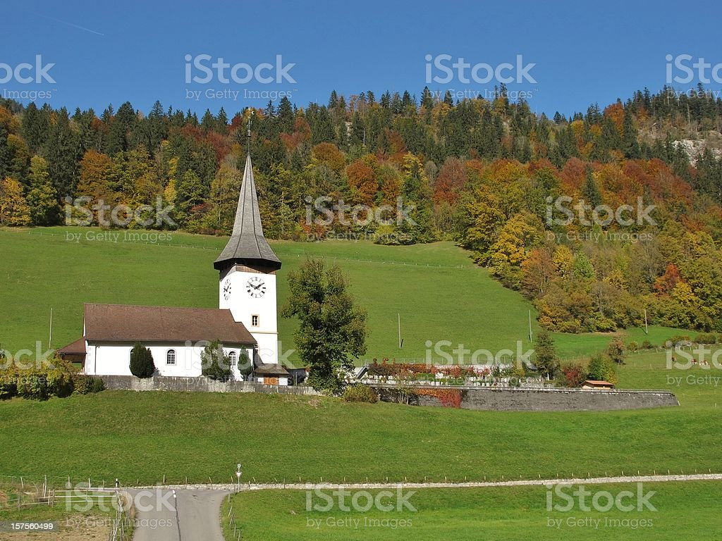 Beautiful Little Church And Colorful Forest stock photo